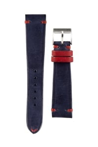 Italian Leather Strap 20mm Blue w/ Red Stitch