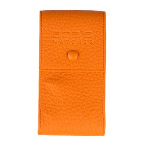 Italian Leather Watch Pouch - Embossed Orange