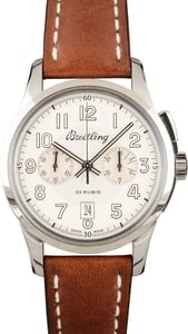 New Breitling Transocean Chronograph 1915 Stainless Steel Silver Dial