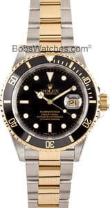Pre-Owned Mens Rolex Submariner Two Tone with Black Dial 16613BKSO
