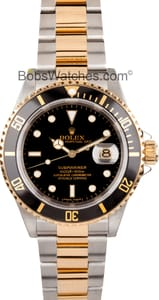 Rolex Submariner 16613 Two Tone Gold thru buckle