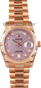 Rolex President 18k Rose Gold Diamond Dial 118235