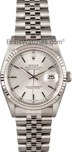 Used Rolex DateJust Stainless 18k White Gold Bezel 16234