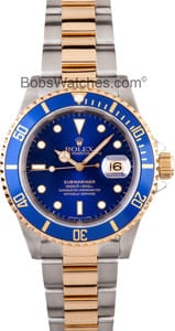 Pre-Owned Mens Rolex Submariner Two Tone with Blue Dial 16613BKSO
