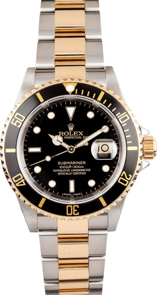 Mens Rolex Two Tone Submariner 16613 Black