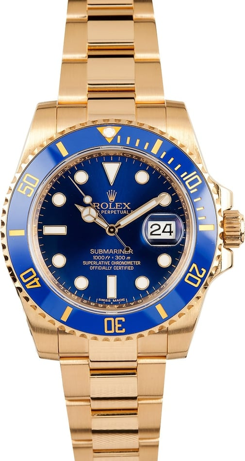 New Blue Rolex Submariner 116618 18k Gold