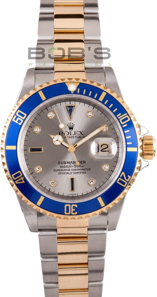 Men's Used Rolex Submariner 16613 Serti Diamond Dial