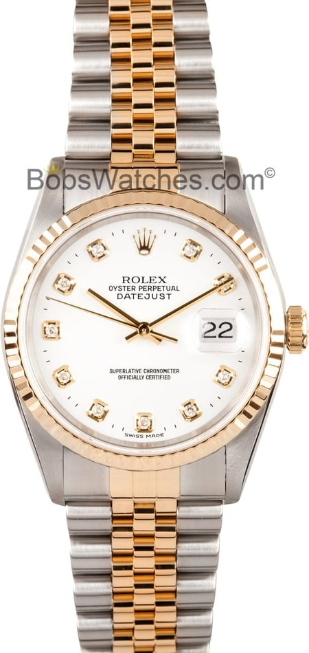 Men's Rolex DateJust White Diamond Dial 16233