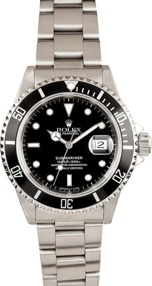 Submariner Rolex Steel Black 16610 Men's