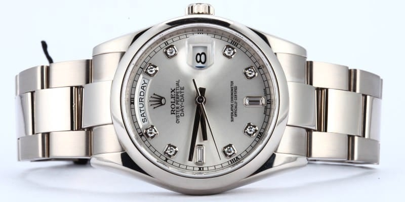 18K White Gold Rolex Day Date Diamond Dial
