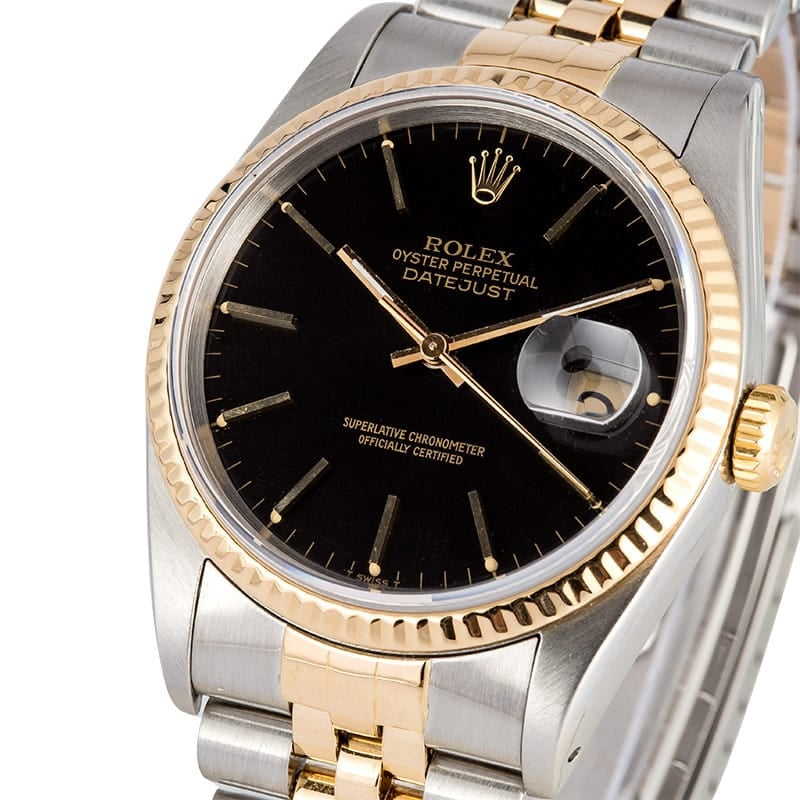 Rolex Datejust Two Tone 16233 Black Dial