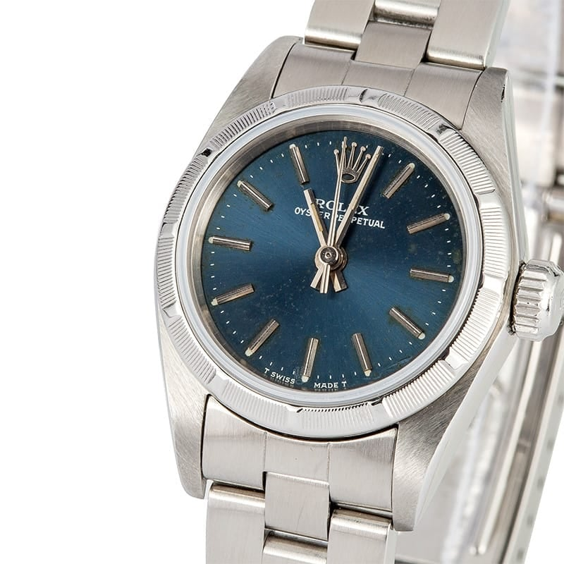 Ladies Rolex Oyster Perpetual 67230 Blue Dial