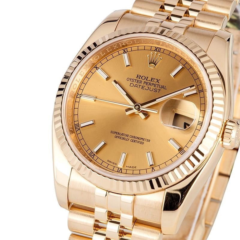 Rolex Mens 18K Datejust 116238 - Certified Pre-Owned