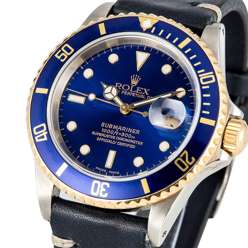 Rolex Submariner Two Tone 16613 Leather