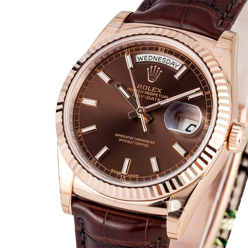 Pre-owned Mens Rolex President 18k Rose Gold Diamond Dial 118235