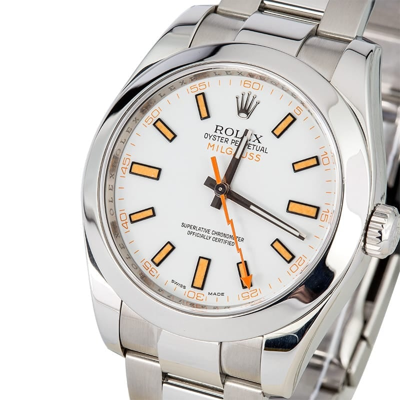 Rolex Milgauss 116400 White and Orange Dial