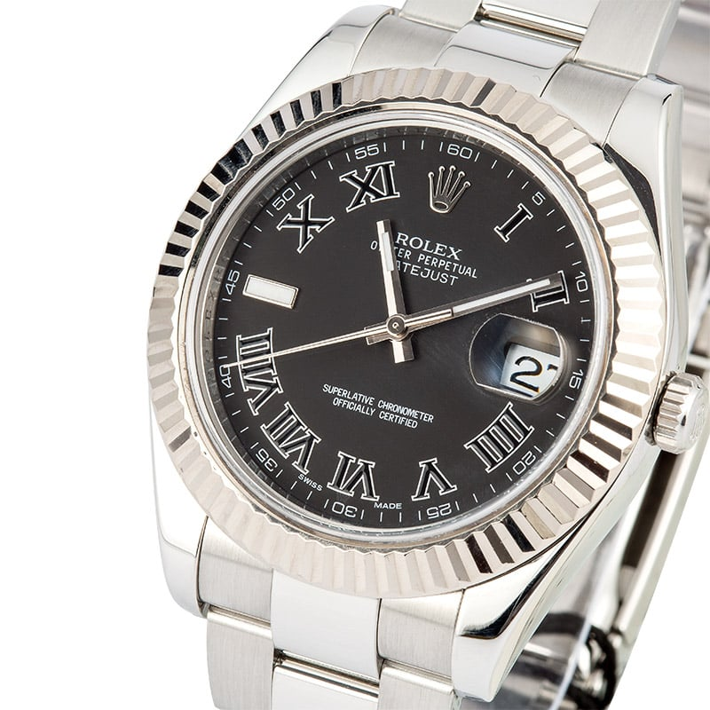 Rolex Datejust II 116334 Black Roman 100% Authentic