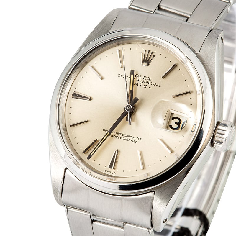 Rolex Date 1500 Silver Dial 100% Authentic
