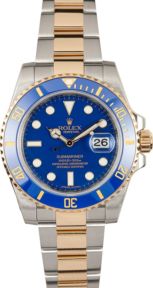 Mens Rolex Ceramic Submariner 116613 Two Tone x TT