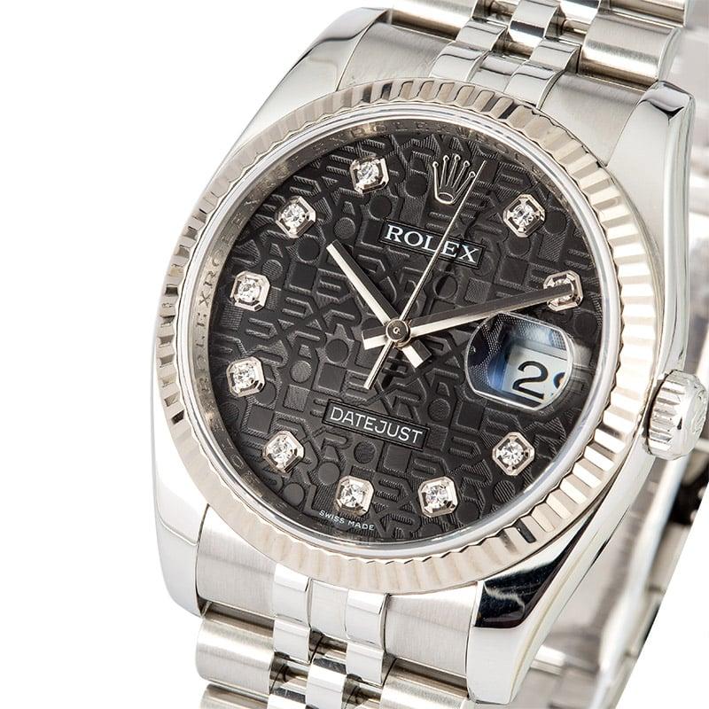 2b769c66e0b Rolex Datejust 116234 White Gold Bezel, Jubilee Diamonds, Box & Papers