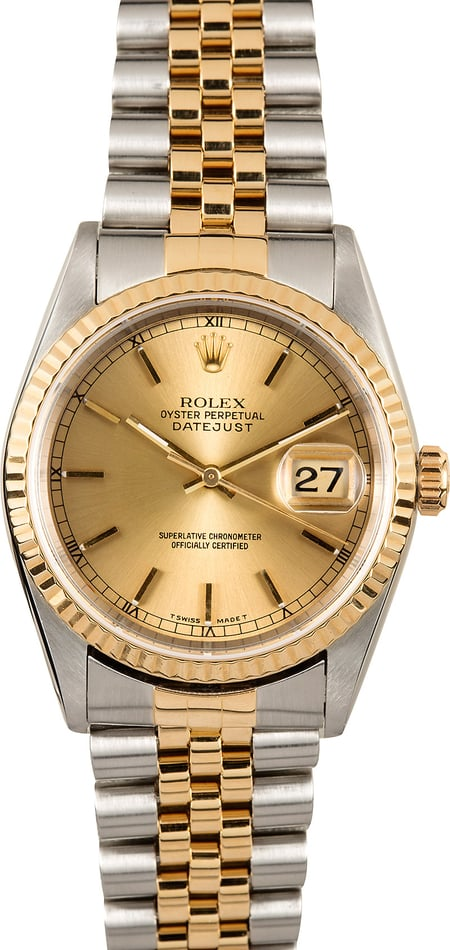 Rolex Two-Tone 36MM Datejust 16233 Champagne