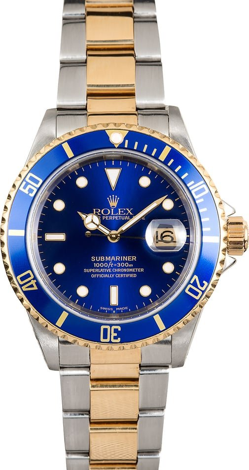 Pre-Owned Men's Rolex Submariner Steel and Gold Blue Dial 16613