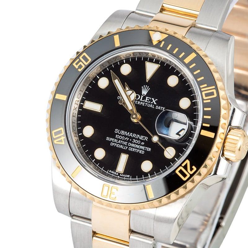 best prices on rolex submariner watches at bob s mens rolex ceramic submariner 116613 two tone x
