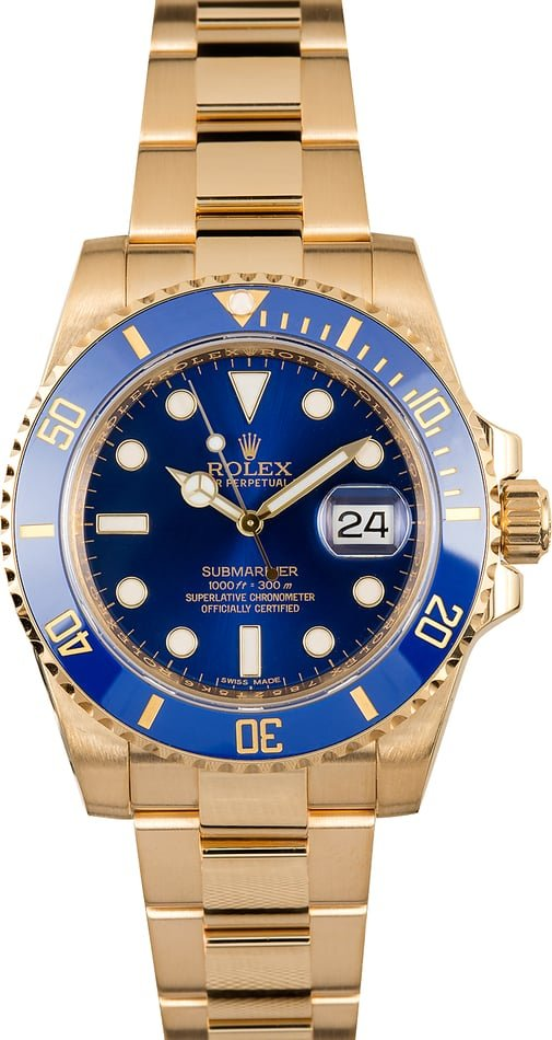 Rolex 18K Yellow Gold Submariner 116618 Blue Dial