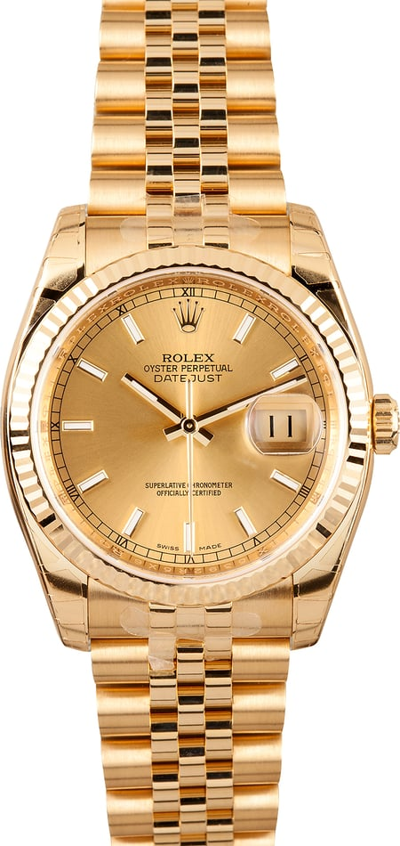 Rolex Gold Datejust 116238 Factory Stickers