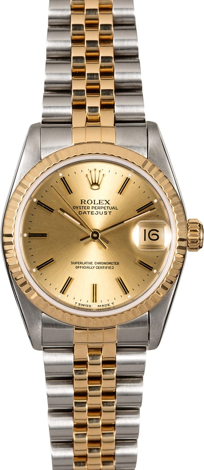 Mid-Size Rolex Datejust 68273 Champagne Dial