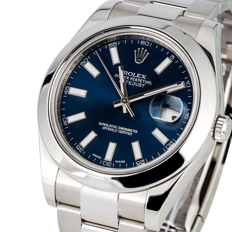 2e8ad60f66a Rolex Datejust II 116300 Blue Luminescent Dial Box   Papers