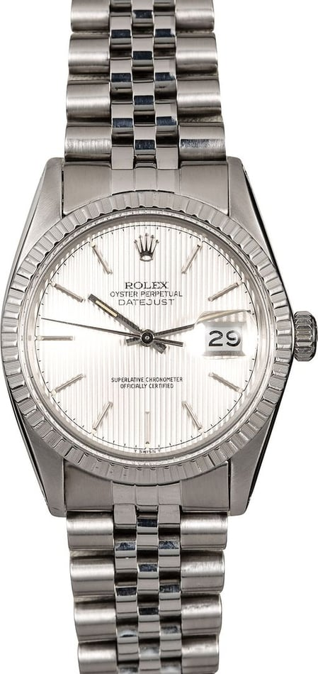 Men's Rolex Datejust 16030 Silver Tapestry Dial