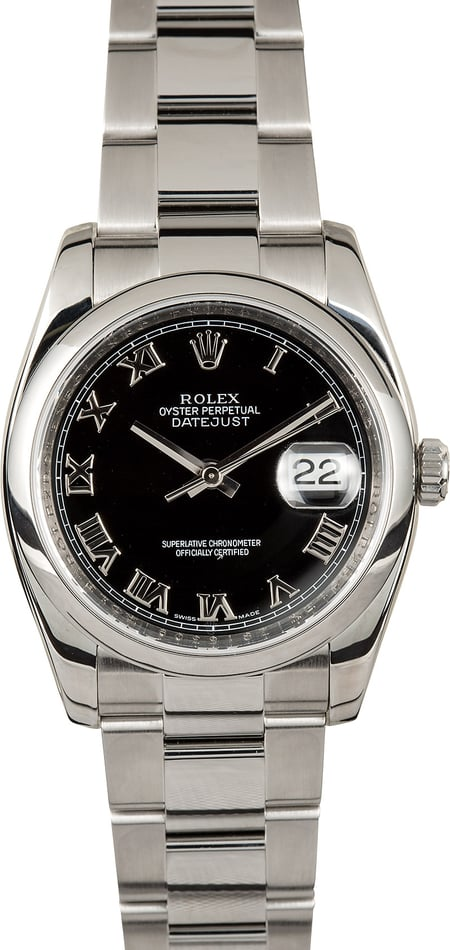 Used Rolex Datejust 116200 Black Roman Dial