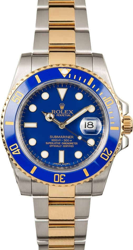 Certified Rolex Submariner 116613 Blue Dial