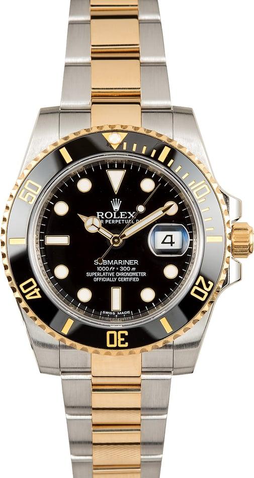Preowned Rolex Submariner 116613 Black Ceramic Bezel