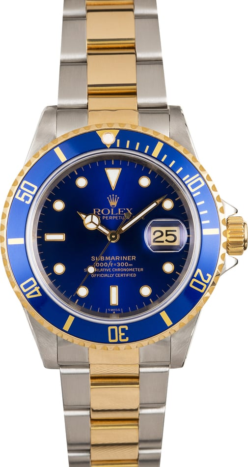 Pre-Owned Men's Rolex Submariner Steel and Gold Blue Dial 16613 TT