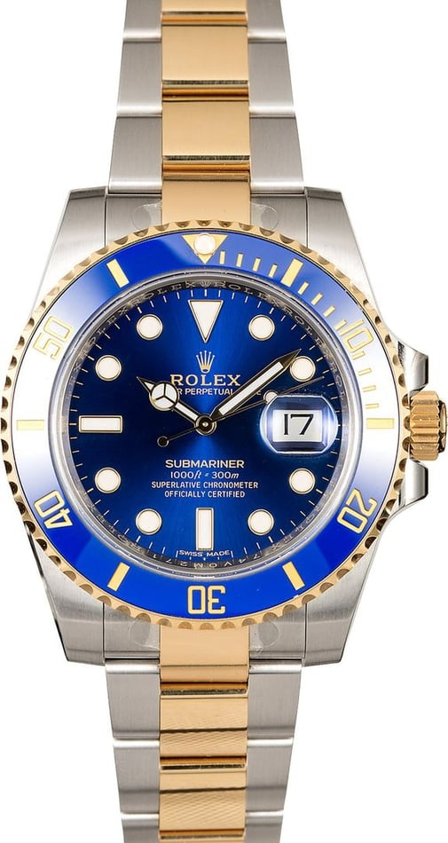 Factory Stickered Rolex Submariner 116613 Sunburst Blue Dial