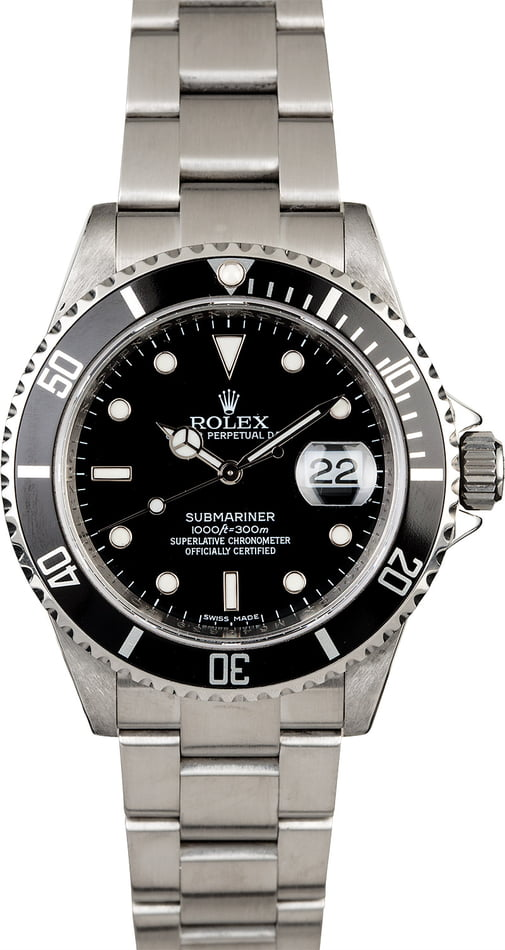 Rolex Submariner 16610 No Holes Diver's Watch