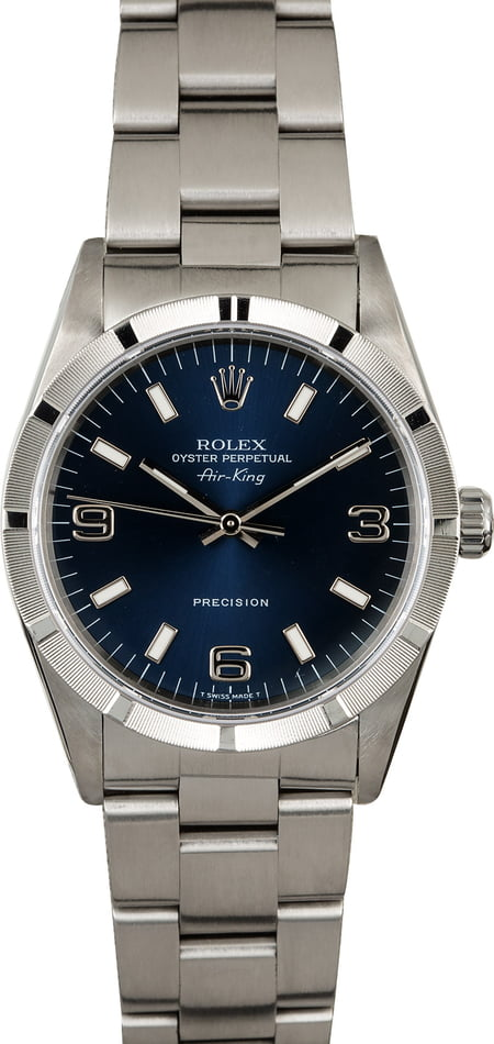 PreOwned Rolex Air-King 14010 Blue Dial Steel Oyster