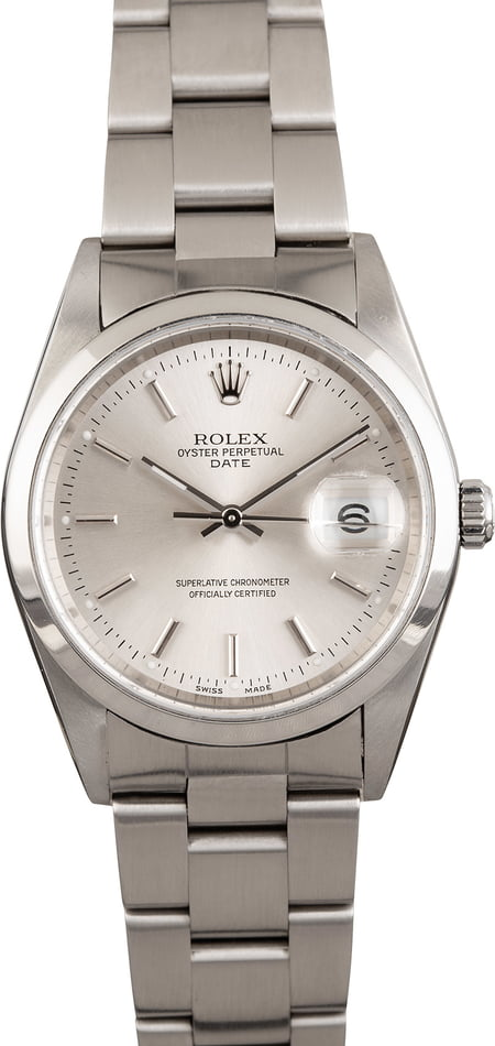 Pre Owned Rolex Date 15200 Silver Dial