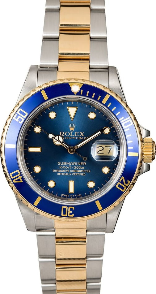 Used Rolex Submariner Ref 16803 Blue Dial Two Tone