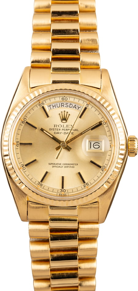Pre Owned Rolex President 1803 Champagne Pie Pan
