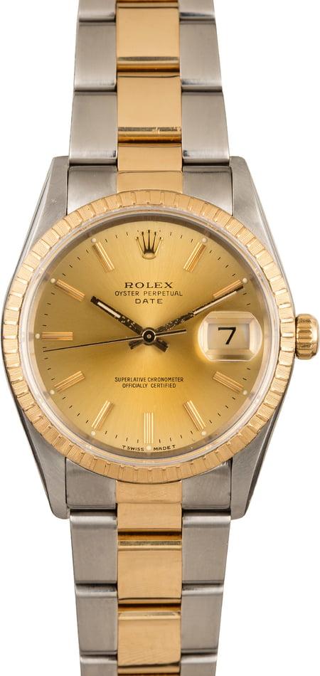 Men\u0027s Rolex Oyster Perpetual Date Stainless Steel \u0026 Gold 15223