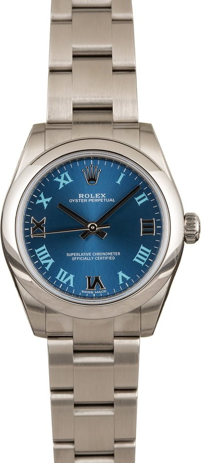 PreOwned Rolex Oyster Perpetual 177200 Blue Roman Dial