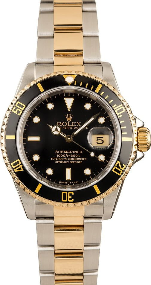 Rolex Submariner Steel & Gold Black Face 16613