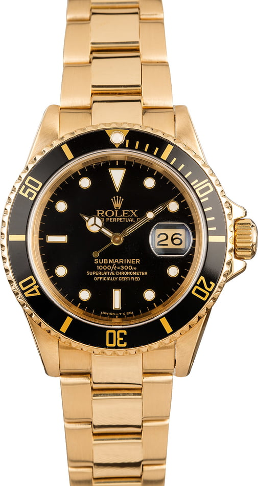 Pre-Owned Rolex Submariner 16618 Black Dial
