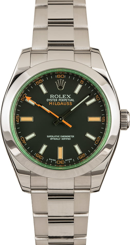 Rolex Milgauss 116400V Green Crystal Watch