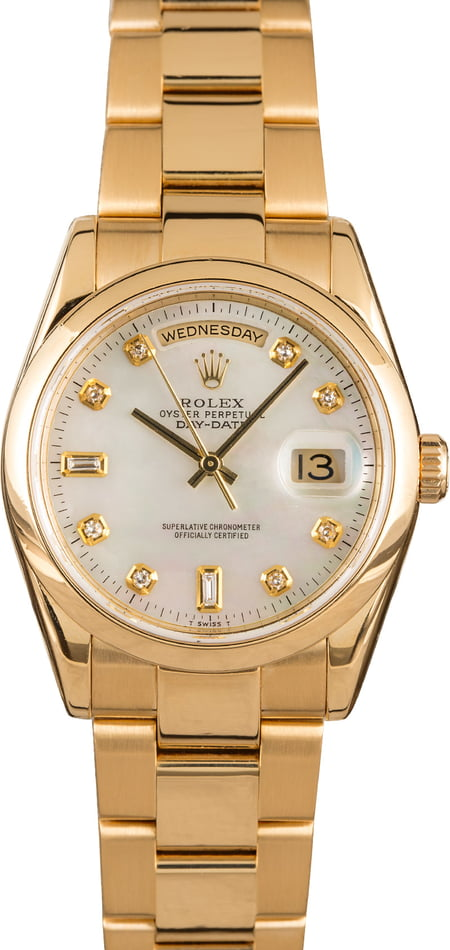 Pre-Owned Rolex Day-Date 118208 MOP Diamond Dial