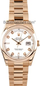 Pre-owned Mens Rolex President 18k Rose Gold Diamond Dial 118205