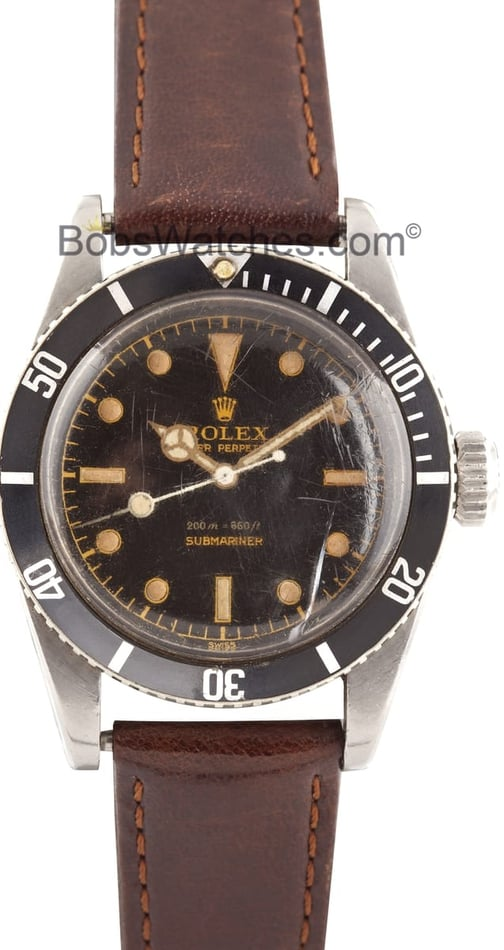 Rolex Vintage Submariner 6538 2 Line Big Crown James Bond 1958 - Rare
